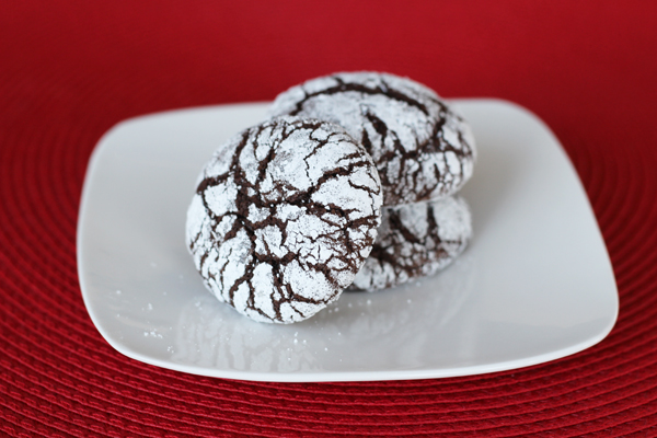 Holiday Chocolate Crinkles close-up