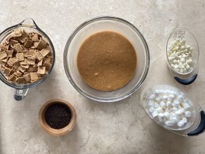 Ingredients for Peanut Butter S'More No Bake Cookies