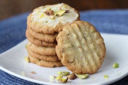 Pistachio Lemon Butter Cookies stacked