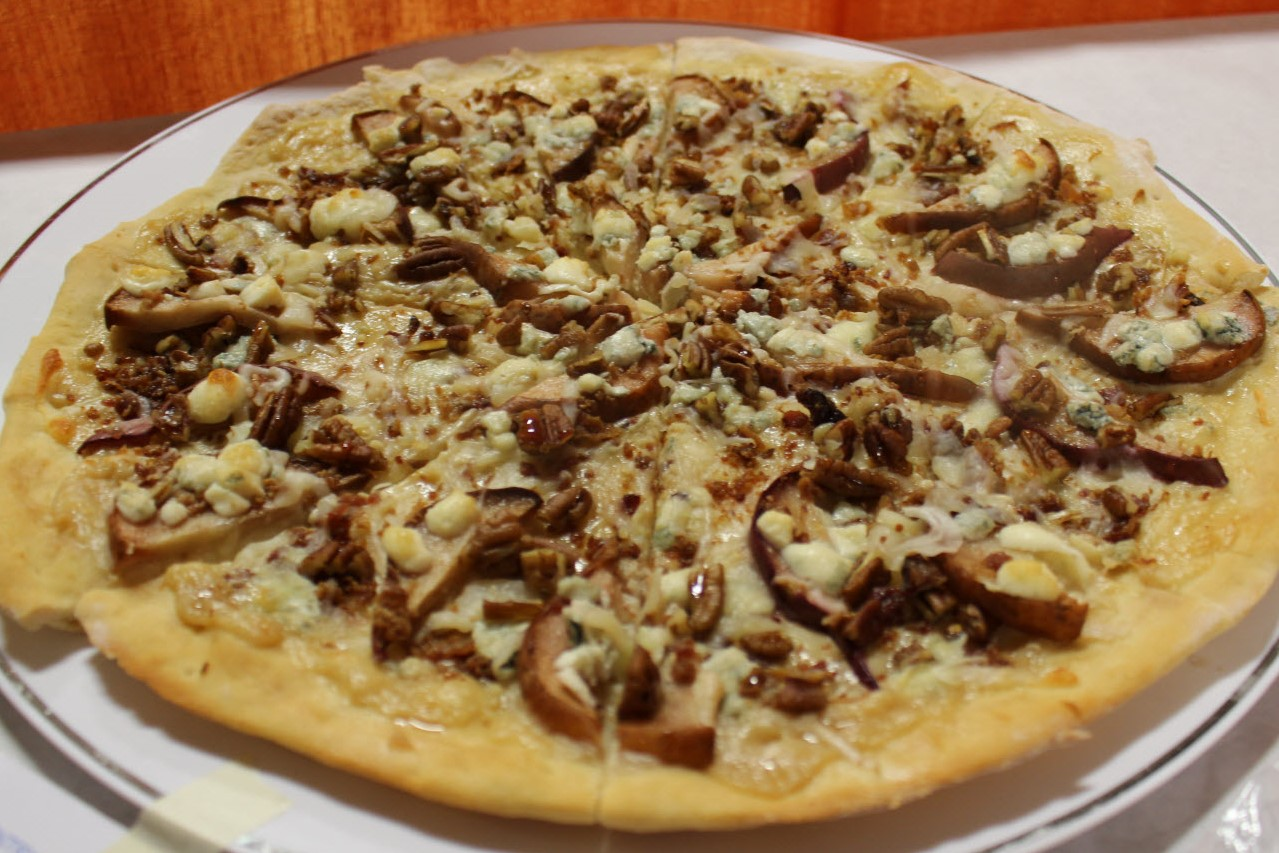 Whole Sweet Savory Pear Desert Pizza