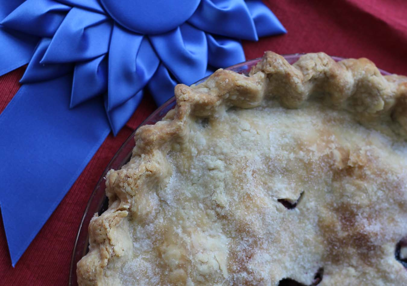 Blueberry Rhubarb Strawberry Pie-Crust from above