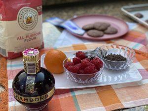 Display of Key Ingredients - Raspberry Chocolate Chunk Cookies