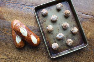 Pretzel rolls, frozen meatballs